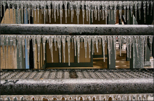 ice on stairs