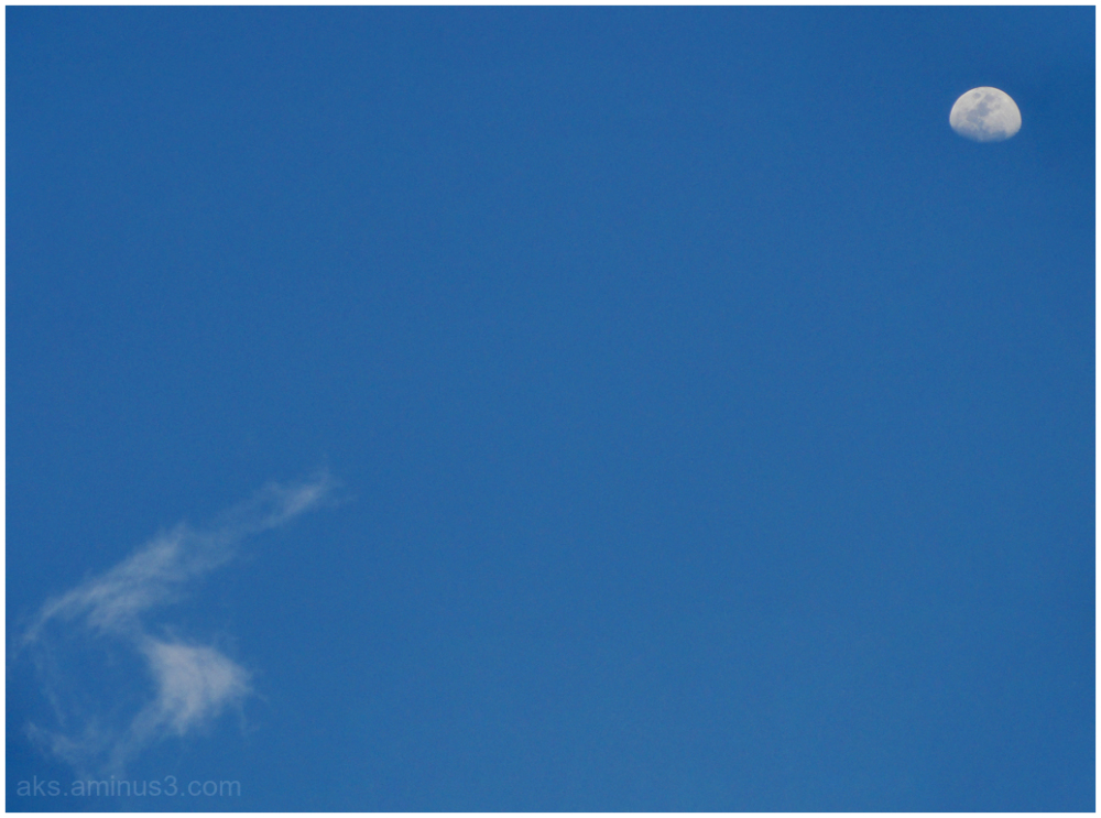 Moon, sky and cloud