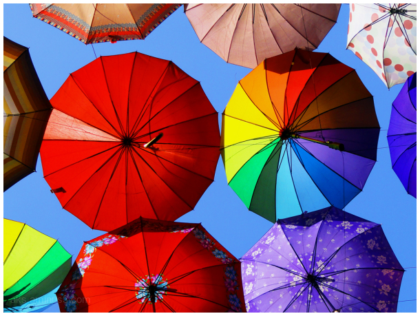 Colored umbrellas