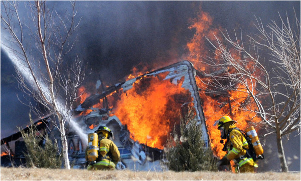 camper trailer fire volunteer firefighters