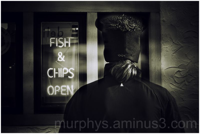 fish, chips .hat b+w.