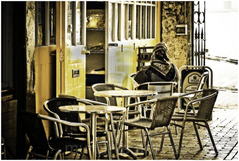 market, cafe. lady.
