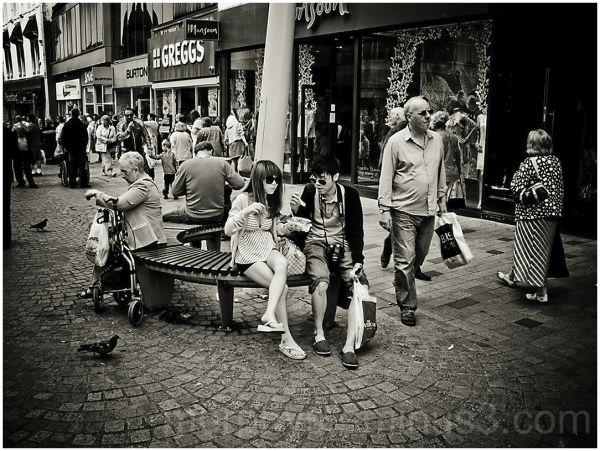 Blackpool, food, sitting.people.
