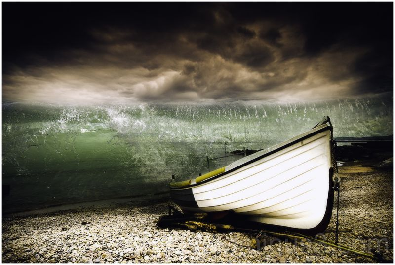seascape ,boat, moody.