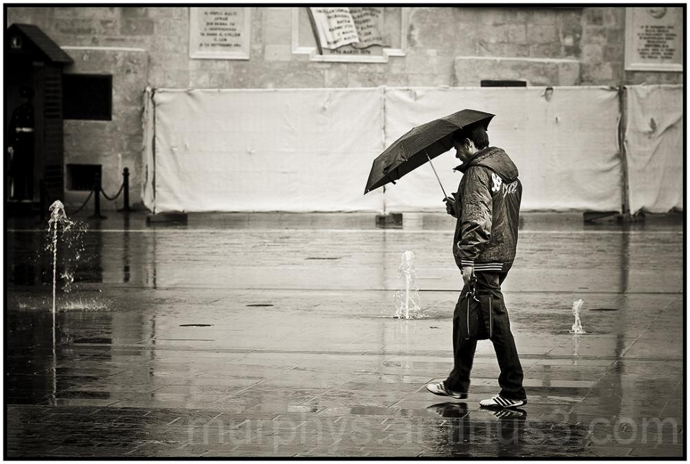 Raining in Valletta.