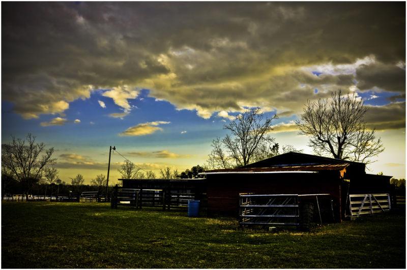 Sunset at a barn.
