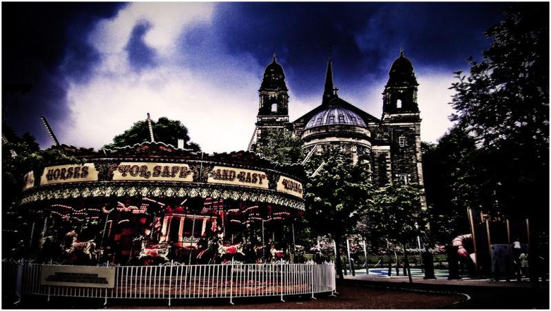 A church and a park.