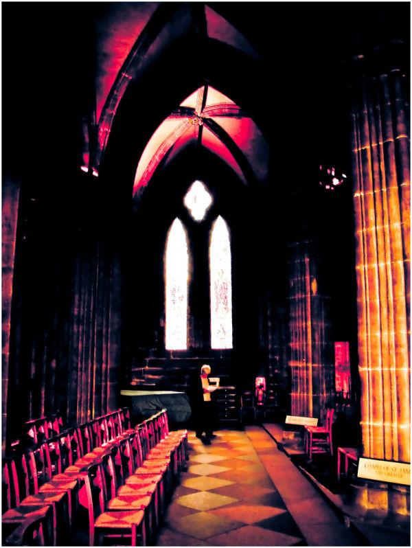 Inside a church in Scotland.