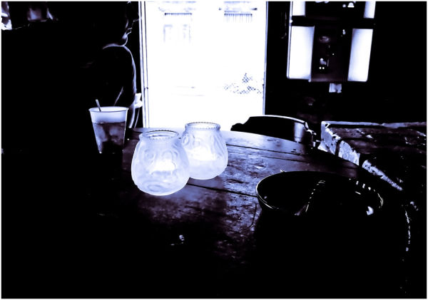 In a bar.
