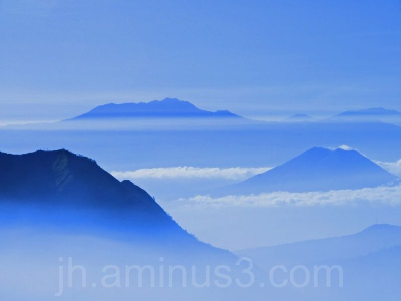 Mount Bromo National park in the mist
