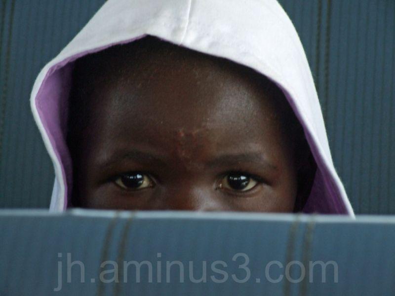 Girl in taxi in namibia