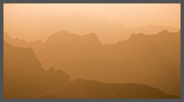 Mountains glowing in the haze
