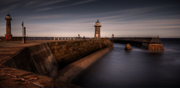 Whitby harbor walls long exposure