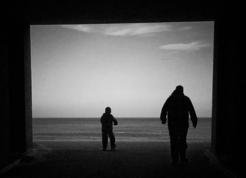 beach father son scotland aberdeen