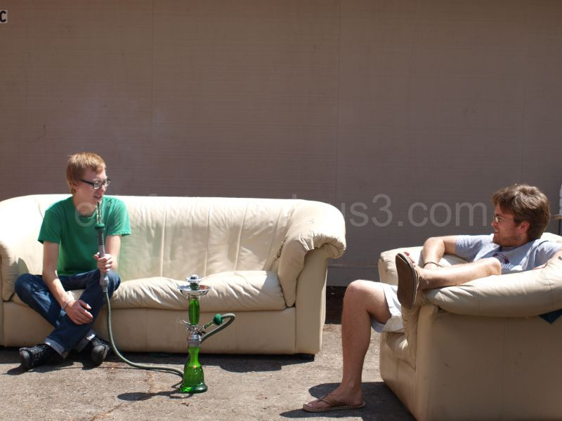 parker and craig outside smoking hookah