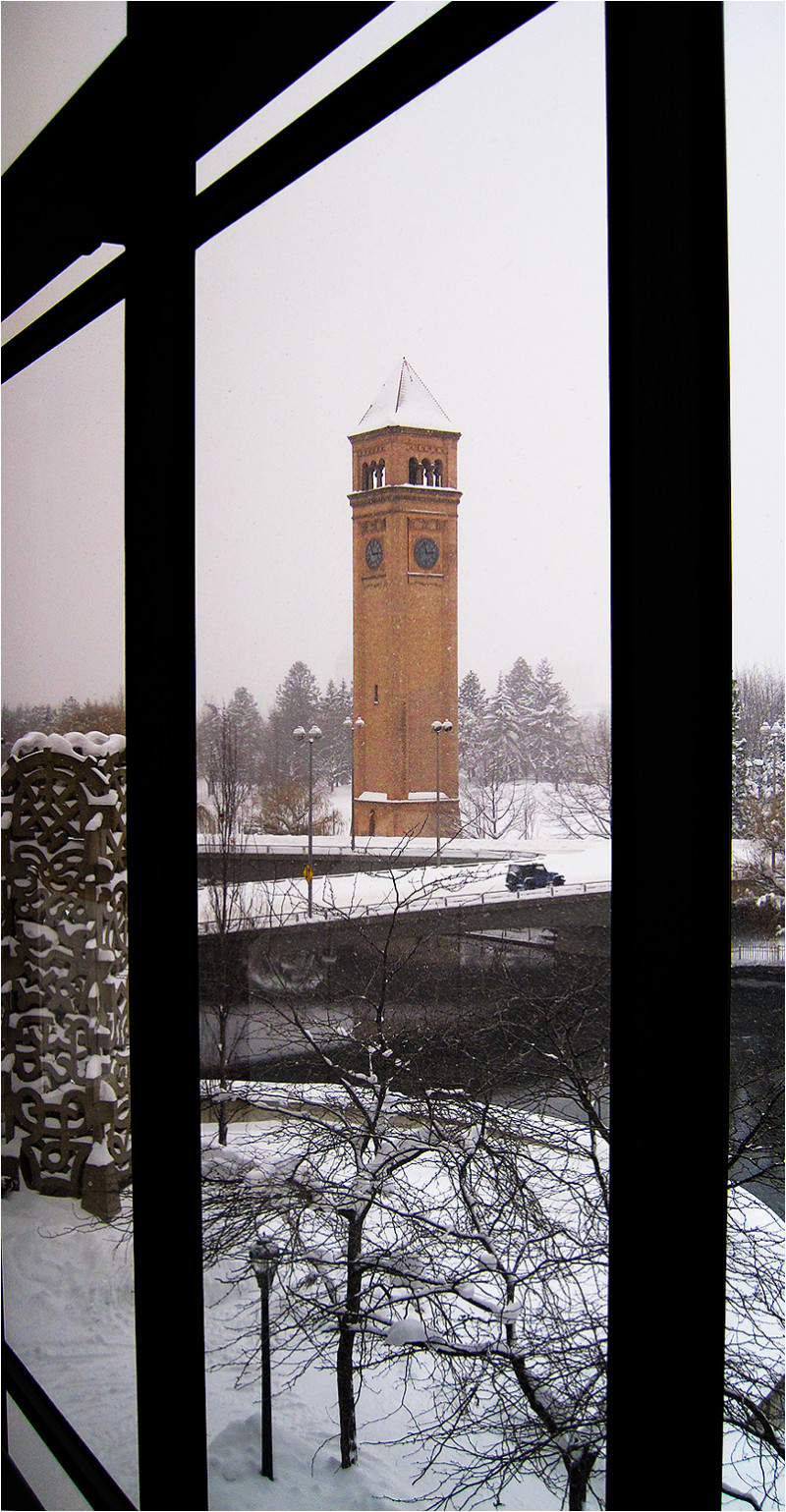 The clock tower in Riverfront Park.