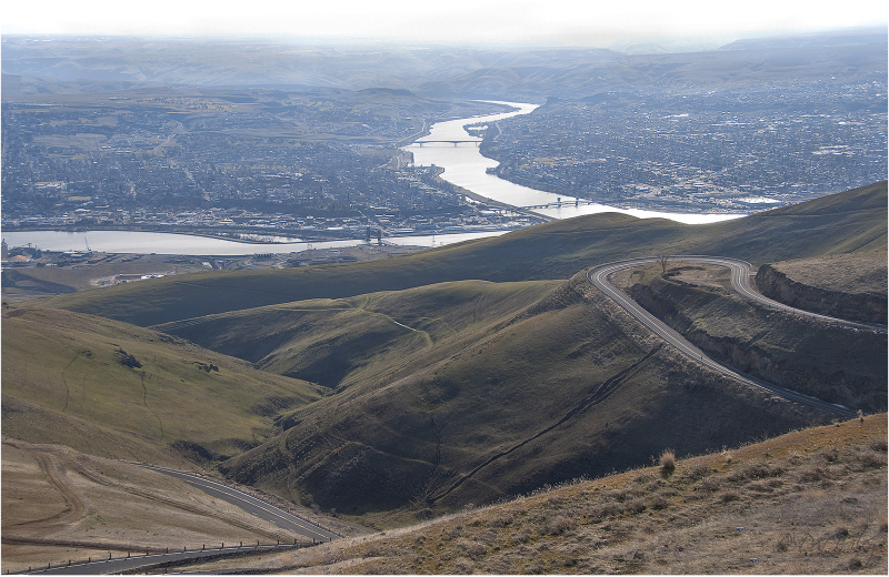 View from the highway approaching Lewiston, Idaho.