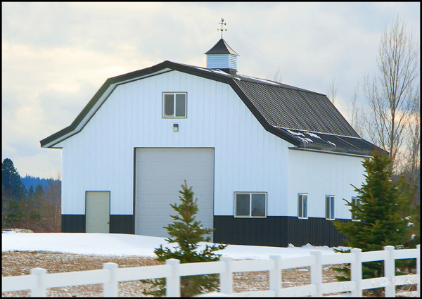 A garage with barn styling