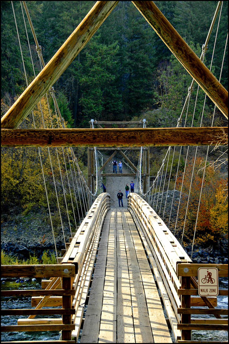 Suspension Bridge Over The Spokane River