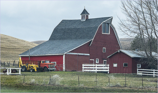 Barn and backhoe