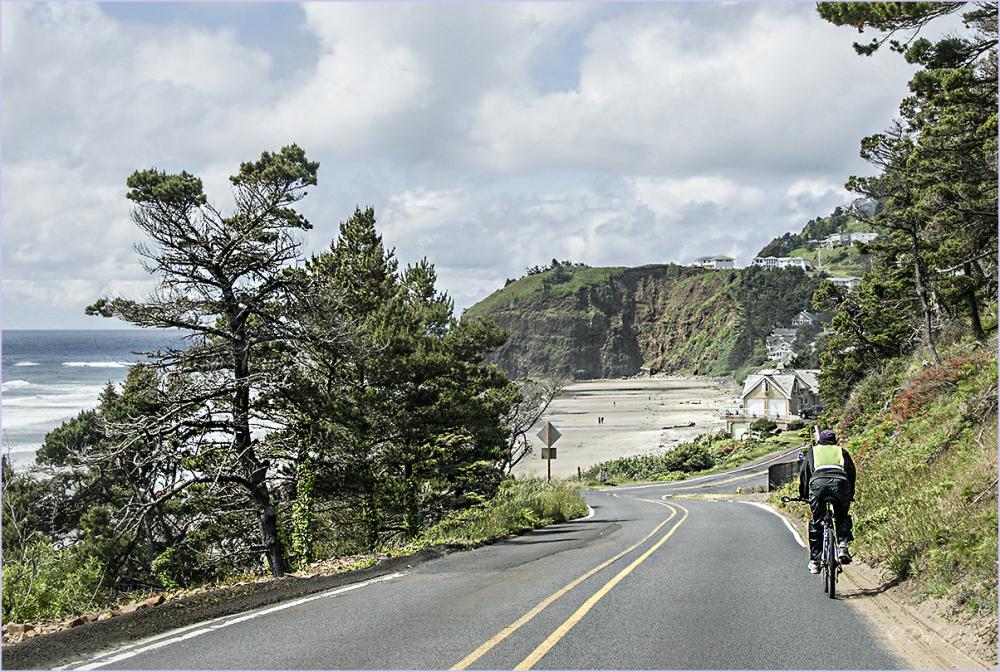 A bike rider near Oceanside, Oregon
