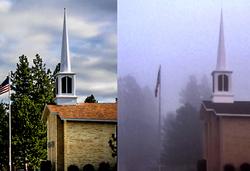 LDS church with fog.