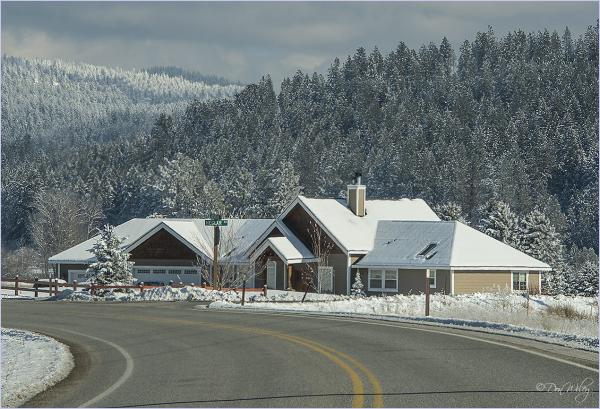 Wintery Farm Home