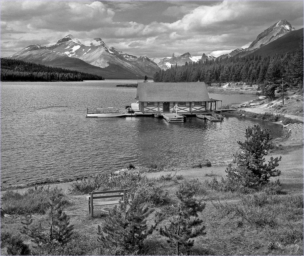 mountain, lake,
