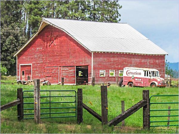 Milk Truck And Barn