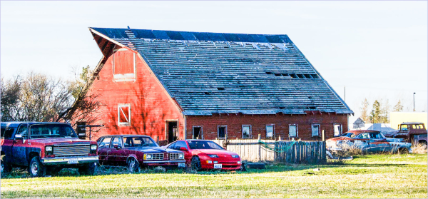Cars and a Barn