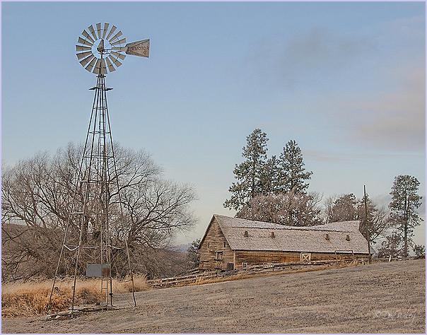 Windmill, Sagging Barn