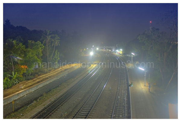 a railway station at night