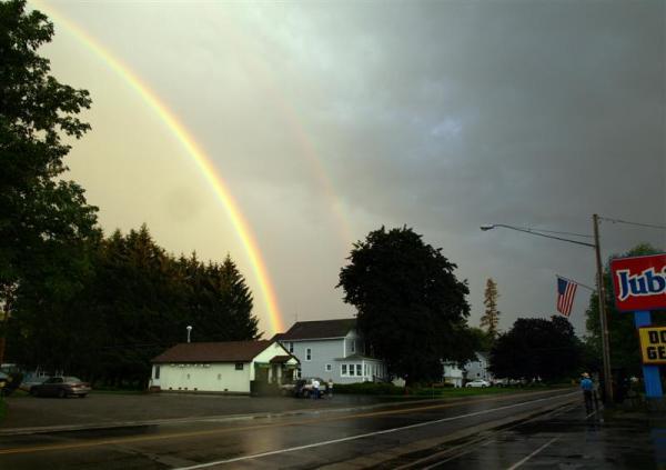 rainbow over a street