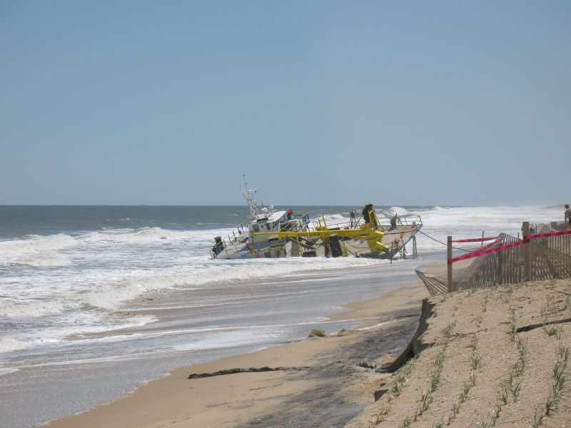Beached research vessel in Bethany Beach, Delaware