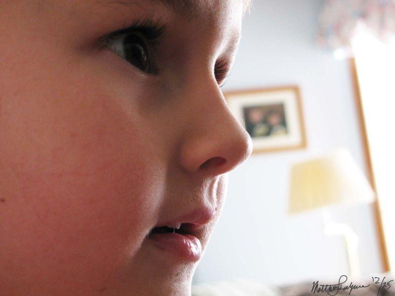 A macro of a boys face