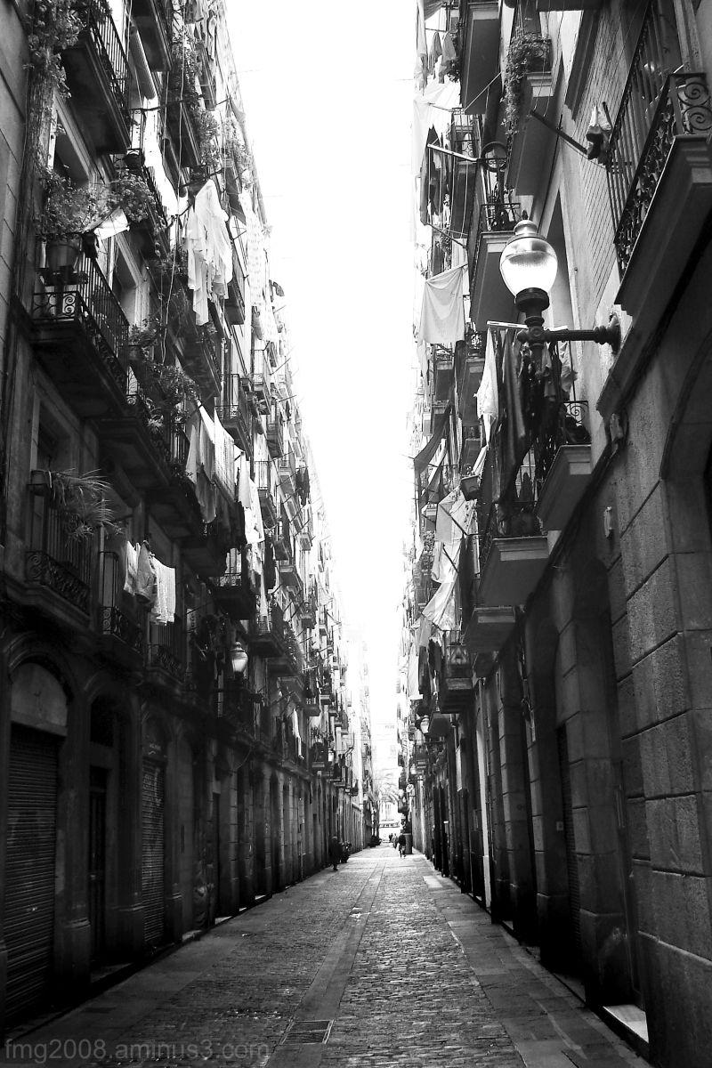 walking trough a narrow street