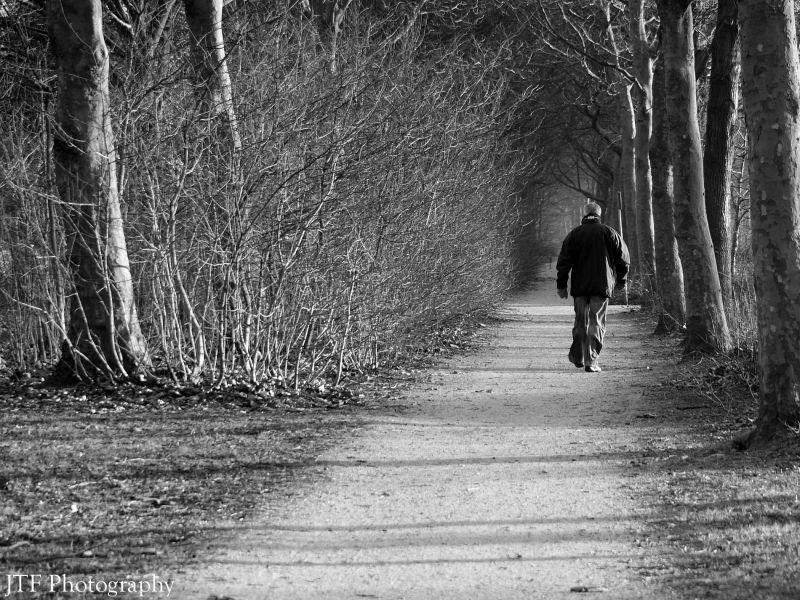 man, walking, street