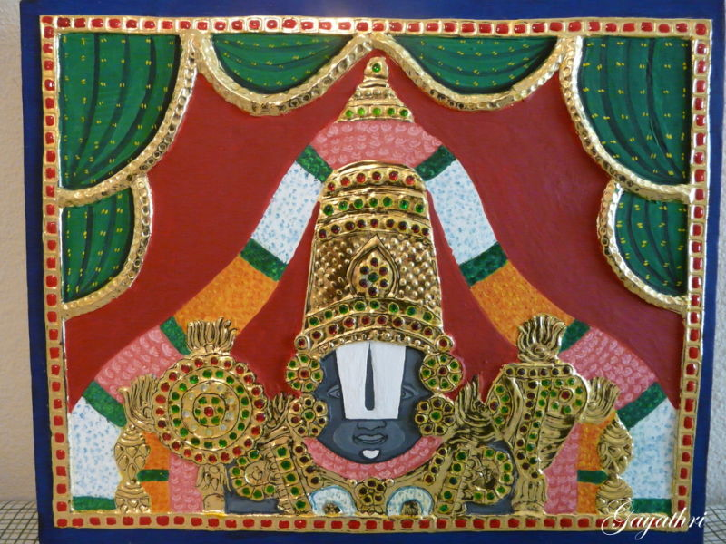 Lord Perumal in Tanjore Painting