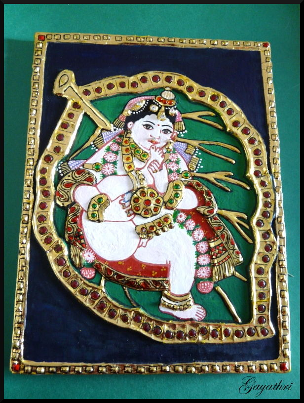 Lord Krishna in Tanjore Painting