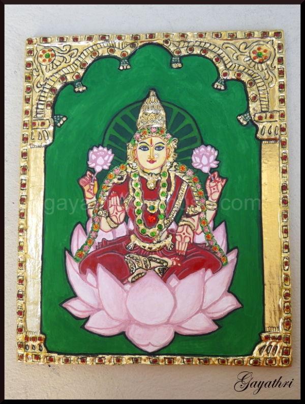 Lord Lakshmi in Tanjore Painting