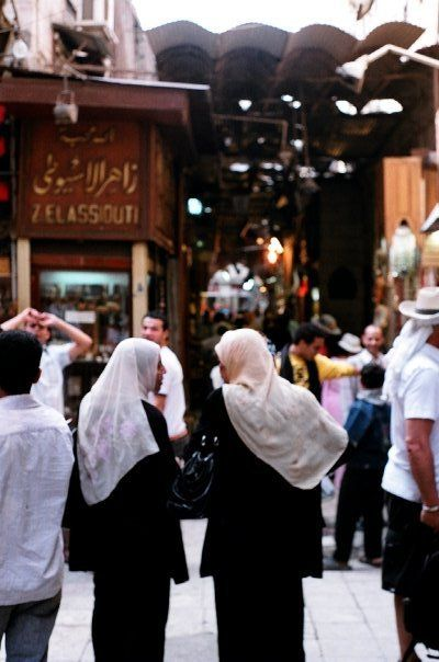 Two girls shopping in the Khan el-Khalili, Cairo
