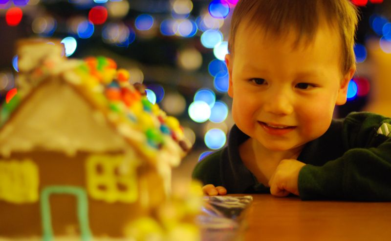 A boy enamored with his gingerbread house.