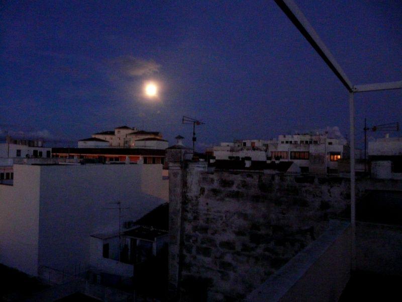 Paisaje urbano de noche con la luz de la luna