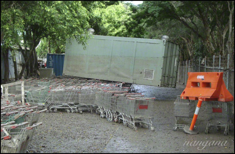 container carried by floodwater