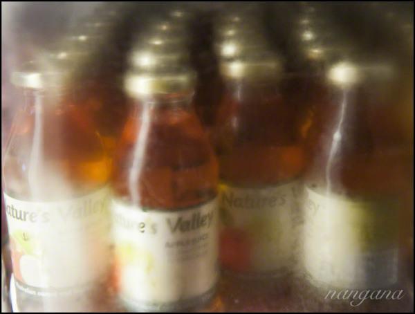 bottles in fridge