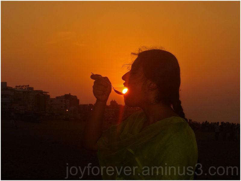 girl eating sun
