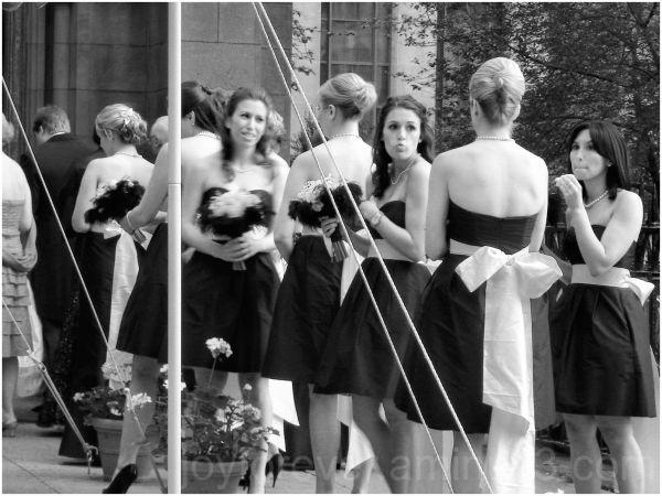 wedding black & white New Yok City bridesmaids