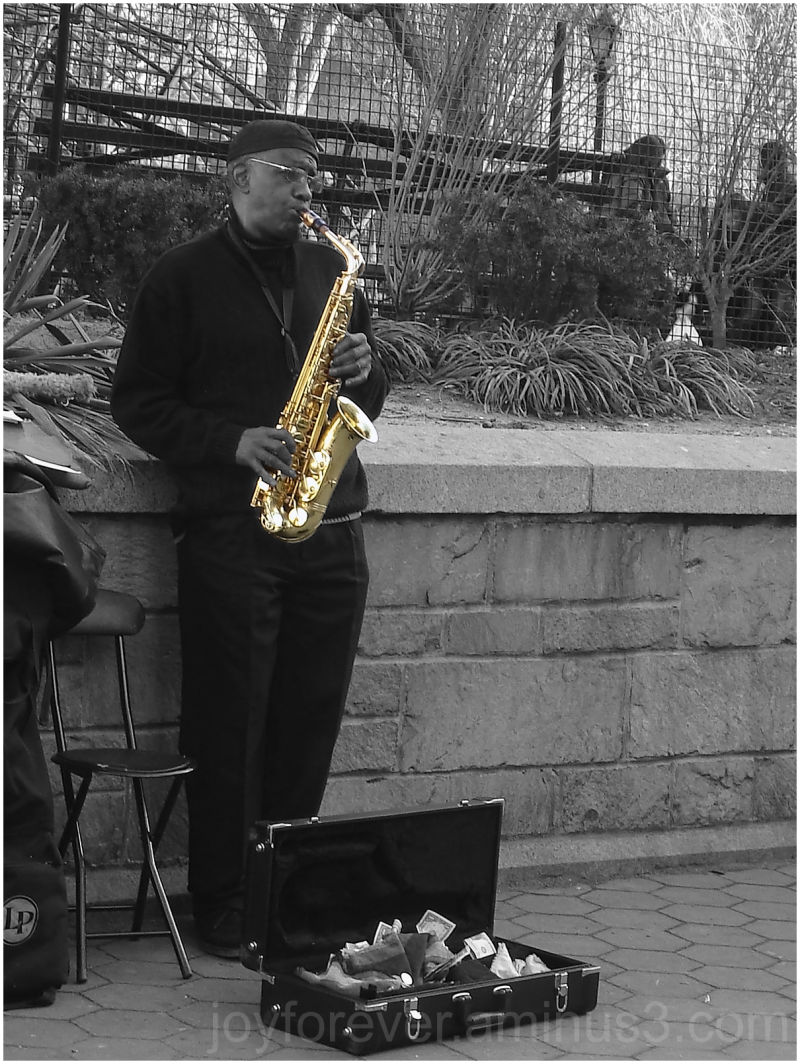 street musician partial color New York City