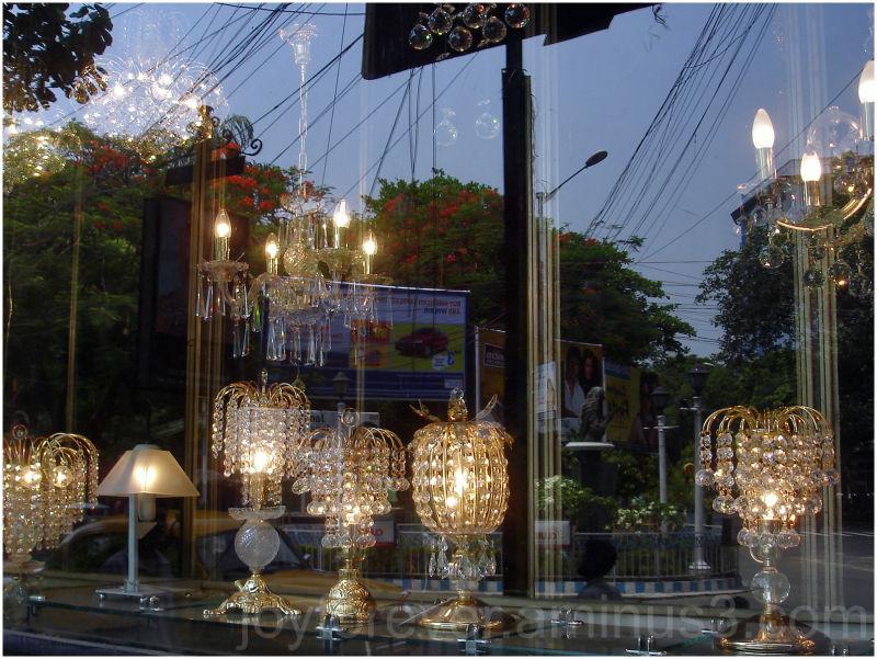 reflection shop window lamps kolkata india