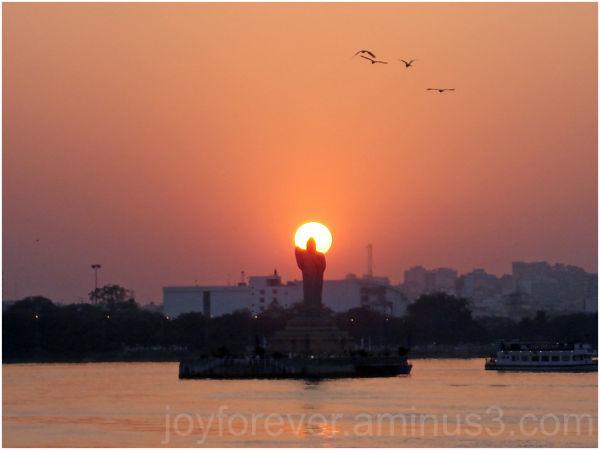 Hyderabad Buddha statue hussain sagar lake sunset